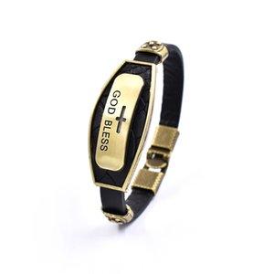 Bracciali Charms croce per gli uomini God Bless Lettera Retro lega dell'annata del cuoio genuino del braccialetto di modo Uomo braccialetto nero Brown gioielli regalo