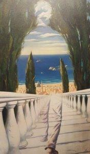 Vladimir Kush « Descente à la Méditerranée » Home Décor peint à la main HD Imprimer Peinture à l'huile sur toile Wall Art Toile Photos 200805