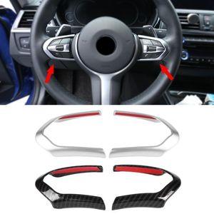 2pcs Abs Chrom / углеродного волокна рулевого управления колеса автомобиля Украшение крышки уравновешивания Рамка для Bmw F20 F22 F30 F32 F10 F06 F15 F16 М-спорт