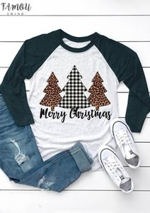 2020 Christmas Top Women Plaid Leopard Printed T Shirt Three Quarter Sleeve Tees Cute Christmas Tree Ladies Tops Tee