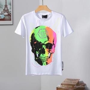 La camiseta de calavera con flores más nueva de primavera con cuello redondo. Fuerza física. Mezcla de algodón de alta calidad, tamaño M-3XL-A6