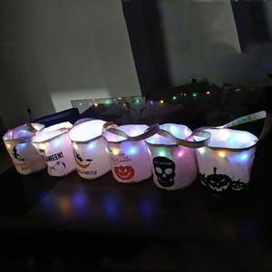 Cadılar Bayramı Tuval Şeker Çanta ile Işık Çanta Halloween Çocuk Hediye Çanta Kafatası Kabak Baskılı Organizatör Çanta Kılıfı Parti Tedarik Prop VT0565