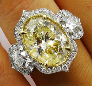 거위 계란 모양의 크리스탈 노란색 밝은 여성의 반지 패션 타원형 약혼 기념일 의미 반지 도금 18 천개 골드 보석 선물