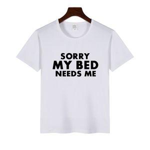 Camiseta de hombre o mujer Texto impreso Lo siento, mi cama me necesita manga corta informal Camisetas divertidas