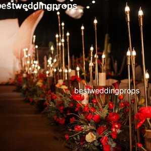 Nuevo estilo Wedding Aisleway gold mental Pillar, Wedding Walkway Crystal Stand Pillars, wedding walkay pilares best01133