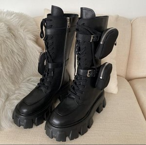 arası Yeni Tasarımcı Cep Şövalye Boots Yuvarlak Burun Chunky Sole Düz Platformu Orta buzağı Uzun Çizme Punk Ayakkabı