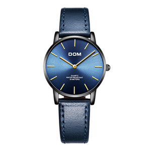 DOM Fashion Women Watch Top Luxury Brand черные часы женские кожаные водонепроницаемые ультратонкие Кварцевые наручные часы femme G-36BL-1MT