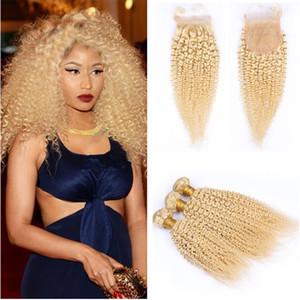 Kinkys Curly Blonde Dentelle Fermeture Avec Des Bundles Extension de Cheveux Vierges Brésiliens Afro