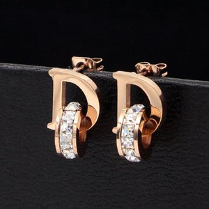 Wholesale- Letters and Crystal Stud Earrings for Women Titanium Steel Brand Jewelry Earrings For Mother's Day Gift