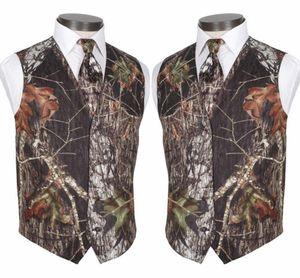 2020 su ordine modesto Camo sposo Gilet Rustic Wedding Vest Tronco d'albero Foglie Primavera Camouflage Slim Fit Uomo Gilet 2 piece set (Vest + Tie)