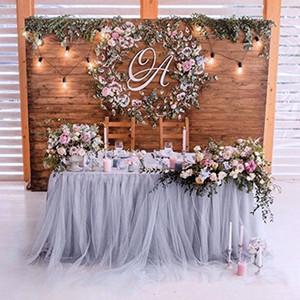 90x80cm tutú de tul multicolor de la tabla de la falda de tela Vajilla cumpleaños de la boda boda Europeand América del faldón de la mesa mullido