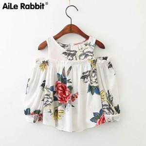 Fiore aile coniglio nuove ragazze di arrivo delle parti superiori di usura di marca boutique di abbigliamento per bambini camicetta a maniche lunghe T-shirt della ragazza