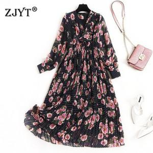 2020 весна платье для женщин Мода Новые Проектировщики длинным рукавом V шеи Ruffle Floral Print Mid теленок богемское шифоновое платье Платье
