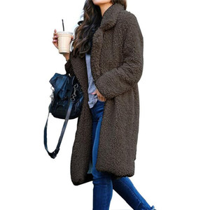 Neck Mulheres Long Coats Moda Cardigan casacos de lã Casual mulheres cor sólida Casacos de inverno Plush lapela