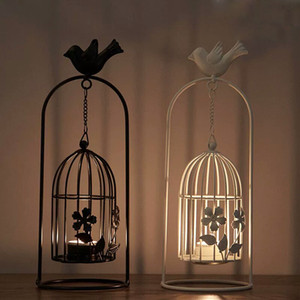 Европейский Bird Cage Tea Light Подвесной фонарь с Железным цветком бабочка ришелье ретро подсвечником для дома Свадебных Черных Белого