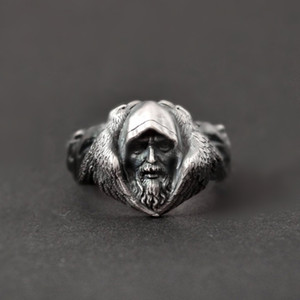 EYHIMD Norse Mythology Odin Raven Silver Rings Mens Viking Wolf Stainless Steel Ring Scandinavian Amulet Jewelry