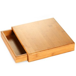 Natural Bamboo Pu'Er Tea Box Wood Tea Tray Kung Fu Set Teaware Accessories Tea Packaging Drawer Type Single Layer