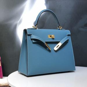 El diseñador de moda Top mano importados de Alemania EPSOM Serie de lujo de la piel de becerro bolsa de asas Señora bolso de la carpeta Denim Blue envío de DHL
