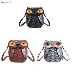 Pu Cute Owl Cartoon Pu Leather Handbag Casual Satchel School Purse Shoulder Bag Crossbody 517D