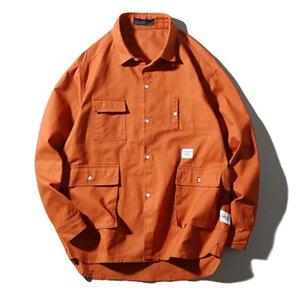 Mens Le nuove camicie di cotone di arrivo cappotti Multi-pocket Arancione giapponese Harajuku Hip Hop tasche Camicie uomo Abbigliamento Moda Cargo