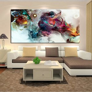 Abstract Colorful Ocean Large Oil Painting Print on Canvas Painting Landscape Posters Wall Art Picture for Living Room Cuadros