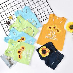 9 цветов лето малышей цветок девушок Жилет + джинсовые шорты 2шт / компл Эпикировку Kid Повседневной Одежды Сладких Девочек Подсолнечных Бутики одежда M1864