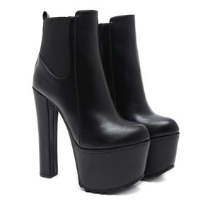 Hot Sale-16cm ultra high heels motocycle boots black PU leather thick platform chunky heels size 34 to 40