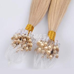 VMAE brasileira Micro laço Anel Extensões de cabelo humano 1g / s 100g Micro Beads trama Virgin Remy Hair Extensions Hetero Natural Loiro Cor