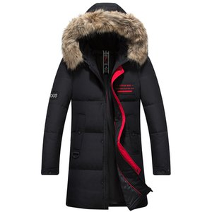 2020 Winter New Duck Down Jacket Men Real Fur Collar Hooded Thick Warm Embroidered Decoration Fashion Red Long Coat Male Brand