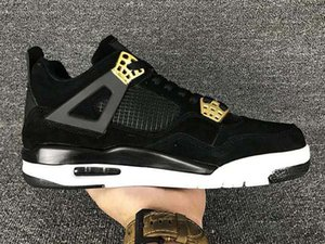 2019 Newest Jumpman 4 4s Royalty men Casual Shoes Suede Black Gold 4s Women Mens Casual Shoes