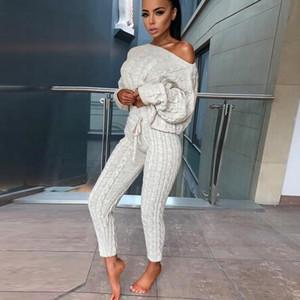 2018 Kış 2 adet Triko Suits Seti O-Boyun Kadınlar Gevşek Katı Pantolon Casual Kazak Örme Triko Giyim Takım Elbise