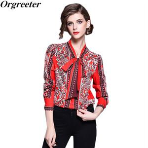 Camisa de mujer roja de Orgreeter Blusa con estampado de arco Trabajo de verano Camisa holgada de manga larga Tops Trabajo Blusa vintage más el tamaño Blusa