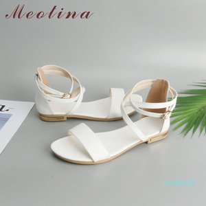Meotina Genuine Leather Women Sandals Block Heel Flat Sandals Open Toe Buckle Summer Shoes Female 2018 Black White Size 33-46 11 l05