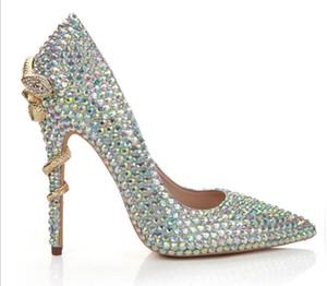 2019 prata T show de calçados strass sapatos sapatos de couro genuíno das mulheres bombas de cobra hight calcanhares dedo apontado chaussures femme sapatos de casamento