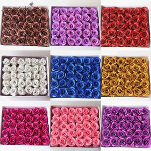 30PCS Crystal gold shiny rose head artificial fake eternal flower hold bouquet decor for home wedding party Valentine's Day gift
