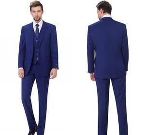 New Arrivals Two Buttons Royal Blue Groom Tuxedos Peak Lapel Groomsmen Best Man Suits Mens Wedding Suits (Jacket+Pants+Vest+Bow tie)