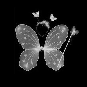 Home & Garden 3 Pcs  Set Kids Children Costume Cosplay Angel Wings Magic Wand Prop Girls Butterfly Fairy Wings Costume SKD88