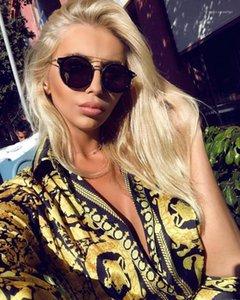 في رقبة البلوزات القديمة اللباس الصيف فضفاضة قمصان مطبوعة طويلة كم السيدات ملابس الشارع الأنيقة المصممات