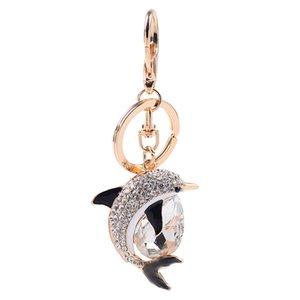 Nouveau mode Keychain Dolphin verre mignon exquis voiture Dauphin Porte-clés Sacs Femme Pendentif Accessoires Porte-clés unisexe Trendy
