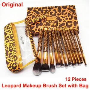 Docolor Makeup Brushes Set Leopard Brush with Bag 12 Pcs Cosmetic brush Blending Powder Foundation Highlight Concealer Eye shadow brushes
