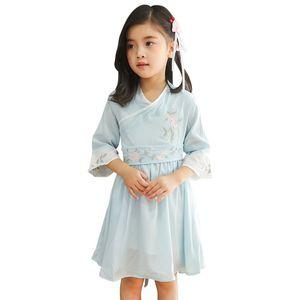 2019 الصيف ثوب جديد الشيفون للبنات مع النمط الصيني ليتل ملابس للبنات