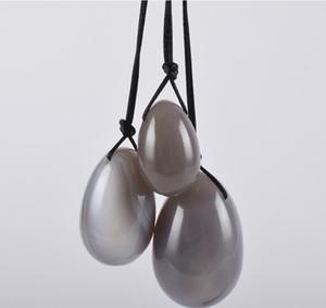 Yoni Egg Set natürliche Jade Agate Yoni Ei gebohrte Massage Ball Eier Yoni Beckenbodenmuskulaturtest- Vagina Massage Kegel-Übung