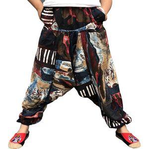 Holgada de algodón de lino pantalones de harén de hombres Hip Hop tamaño extra grande de pierna ancha pantalones ocasionales de los pantalones largo flojo de la vendimia Pantalon Hombre