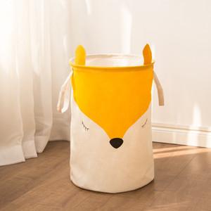 Fábrica directa de tela Juguetes de dibujos animados simples Cesta de almacenamiento de ropa Plegable de lavandería Pinzas Modelos de pareja Caja de canasta de almacenamiento de Fox lindo