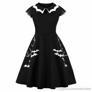 Vestidos para mujer Negro o cuello media manga de las mujeres atractivas de los vestidos de moda señoras flojas ropa del verano del palo de Halloween Impreso