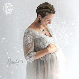 DJ maternité Robes femmes enceintes col en V brodé Tulle longue Maxi robe de grossesse Art Photo robe de haute qualité