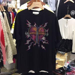 Camiseta para mujer modelos de explosión sizeSMLWSJ000 pegatinas en forma de corazón de diamante de alta calidad de impresión nueva camiseta