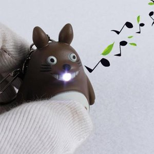 Brelong Cartoon Keychain With Led Night Lights Music -Making Emergency Flashlight Backpack Pendant Totoro Children S Gifts Blue Gray Brown