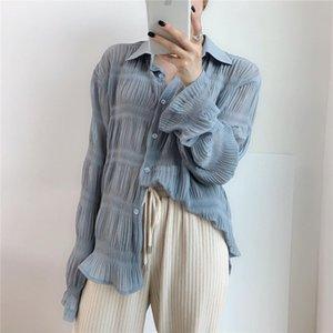 Uzaylı Kitty Gündelik Kıvrımlar Alternatif Zarif Kadın Bluzlar Düzenli 2020 Yeni Tasarım Gevşek İnce Tam Kollu Ücretsiz Gömlek Kadın T200322
