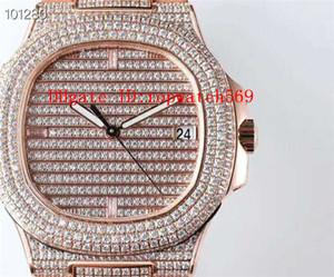 PPC Top diamante del reloj para hombre NAUTILUS 5719 reloj suizo 324C mecánico automático 28800 vph Sapphire 18k Rose del acero inoxidable 316L Oro